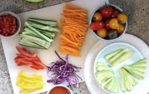 Gemüse in Streifen