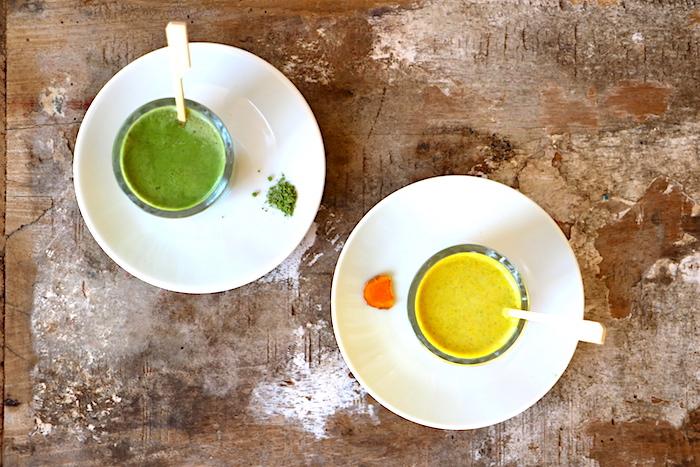 Goldene und grüne Milch